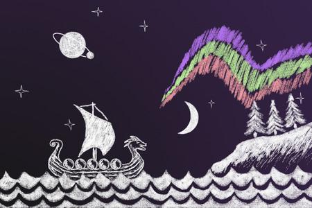 Funny history chalk drawing with Viking ship under northern lights 2 Standard-Bild