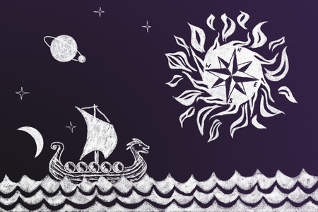 Funny history chalk drawing of Viking ship and stylized compass rose Stock Photo