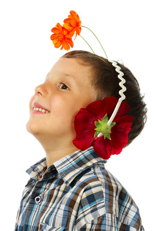 phantasy: The little boy as ant listening to music in headphones from flowers
