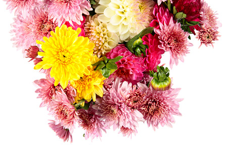 goodly: Goodly bouquet of autumn flowers isolated on white Stock Photo