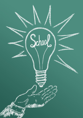 attainments: The school as a power source of science with ideas, knowledge, discoveries Stock Photo