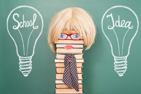 attainments: Funny education idea, Woman teacher in the school environment with their ideas and research