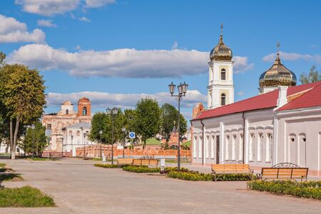 View of Mstislavl. Church of St. Alexander Nevsky and the ruined Jesuit church of St. Michael the Archangel. Belarus  Jesuit church of St Michael of the Archangel