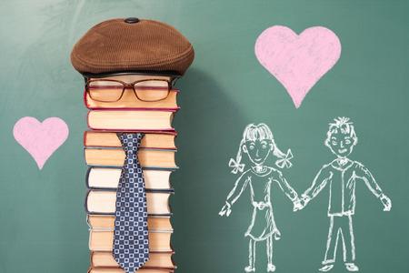 I love my Teacher, funny school education concept Stock Photo