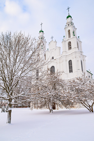 Saint Sophia Cathedral in winter snowbound Polotsk, Belarus