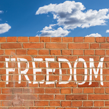 Abstract brick wall obstructing freedom