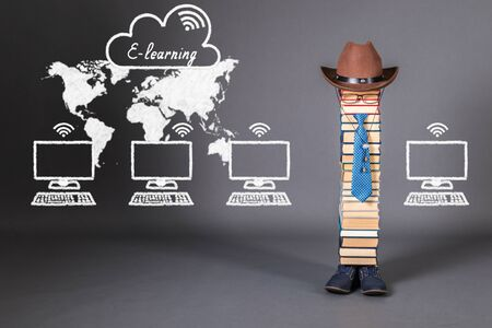 E-Learning funny education concept with unusual teacher