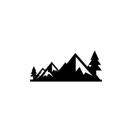 mountain landscape outdoor peak adventure silhouette logo Ilustração