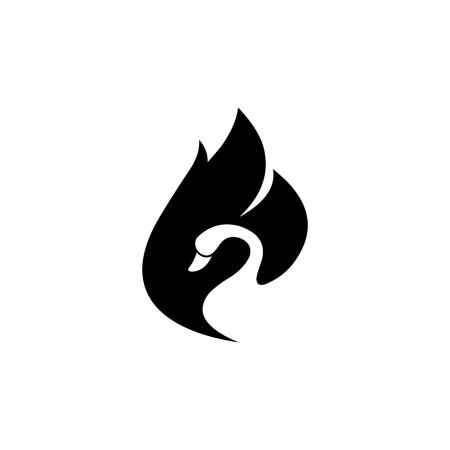 Swan negative space vector logo
