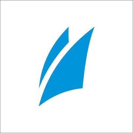 blue sail logo icon abstract vector template