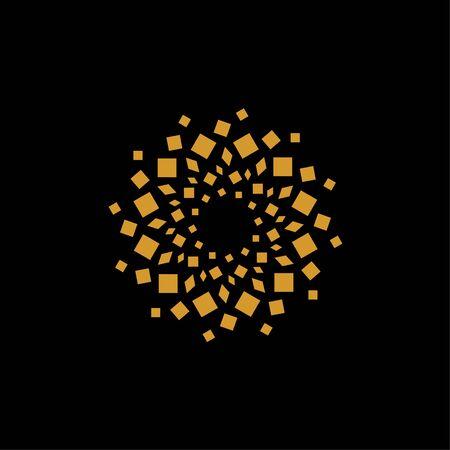 Abstract gold box shape - design element logo vector