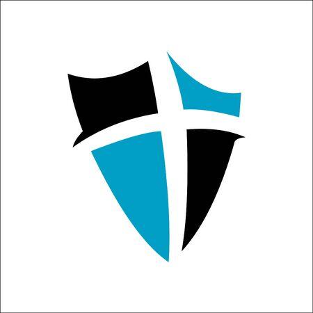 Cross and shield of faith christian church vector logo Ilustrace