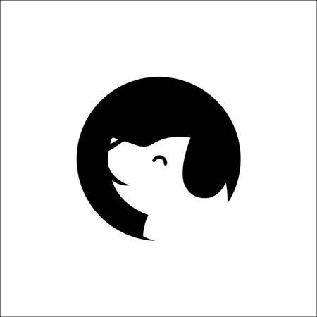 Stylized dog head icon vector logo