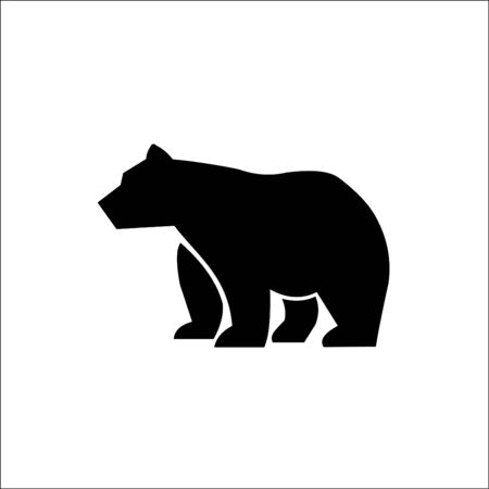 Vector illustration of big walking black bear. Monochrome art isolated on white background. Иллюстрация