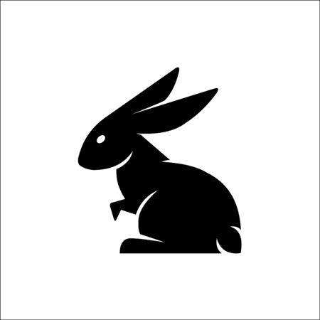 Rabbit black icon, vector sign on isolated background. Rabbit concept symbol, illustration
