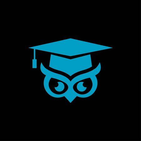 vector logo of a bachelor hat and owl eye