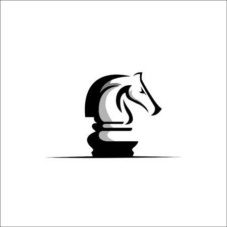 Chess Logo Design Template. Vector Illustration Çizim