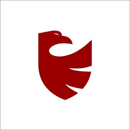 Security shield red eagle logo design template vector Ilustrace