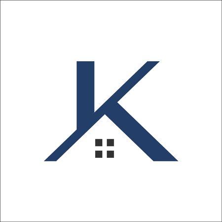 K letter Real Estate Roof Construction logo vector Stock Illustratie