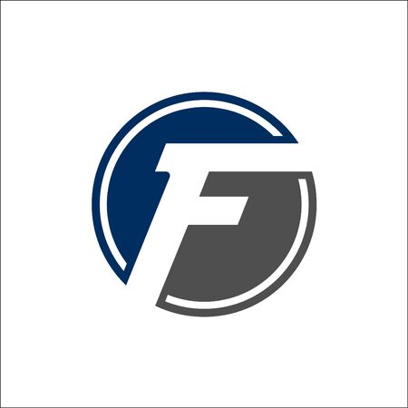 Minimalist Initial F and Circle Logo Design Concept Ilustracja