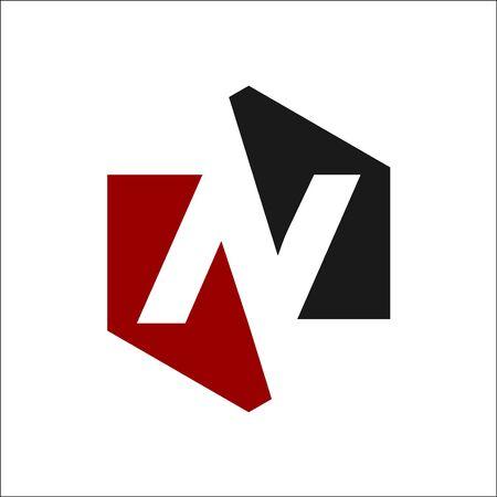 negative space N Logo Vector