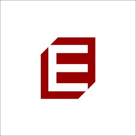 initials E letter negative space vector logo Ilustracja