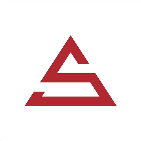 letter S triangle logo vector color red Ilustracja