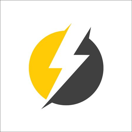 electricity, lightning icon logo vector with circle