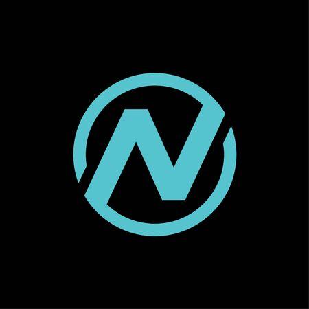 N circle letter initial logo icon design vector illustration Ilustracja