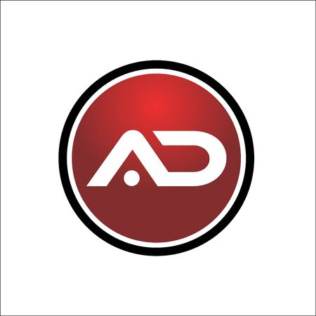 AD initials rounded icon logo red and black