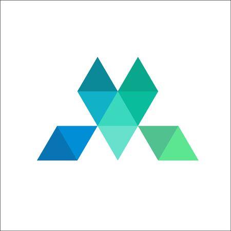 letter M mosaic logo icon design template elements stock vector illustration