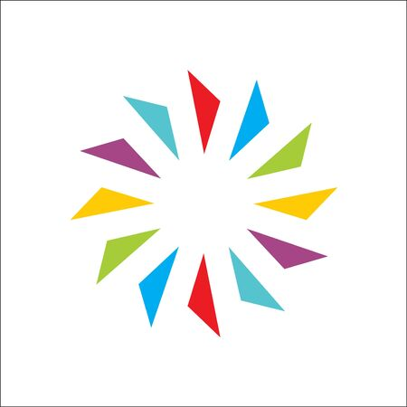 Color creative of circle abstract vector and logo design or template rainbow motion business icon of company identity symbol concept Ilustracja