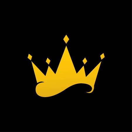 Vector crown isolated on black background Ilustracja