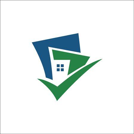 building with tick logo vector Archivio Fotografico - 138450576
