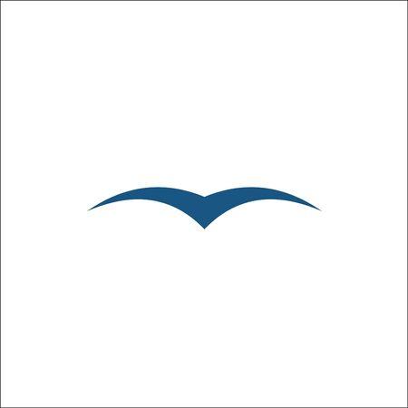 Seagulls isolated. Simple blue seagull silhouettes logo vector Logó