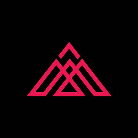 initials M triangle logo vector abstract on black background
