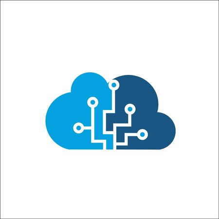 Cloud computing and storage vector logo. Technology design template.
