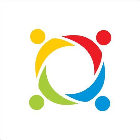 Asociación, trabajo en equipo de personas, plantilla de vector de logotipo de personas de la comunidad