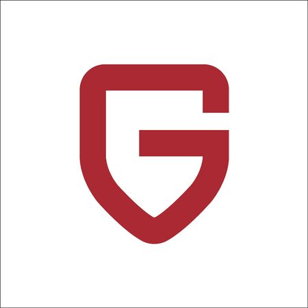 Letter G On Shield Logo vector ,initials G letter shield on red color