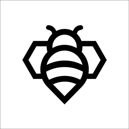 Bee logo vector in modern line style