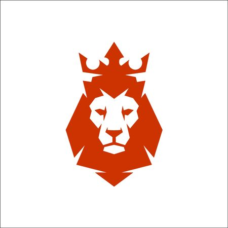 Vector Illustration. Lion head logo with crown. Lion king head sign concept