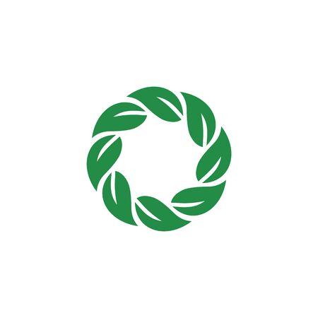 leaf logo circle vector template Ilustrace