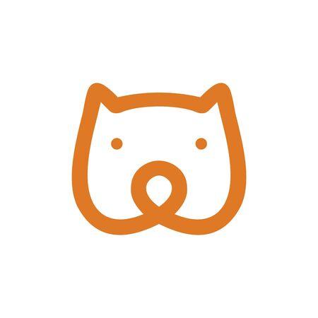 Bear head monoline vector icon Illustration