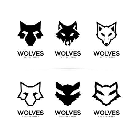 set of head wolf logo vector illustration template