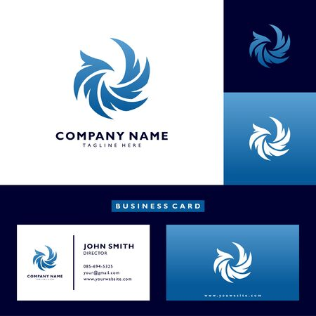 Eagle logo vector abstract template with business card