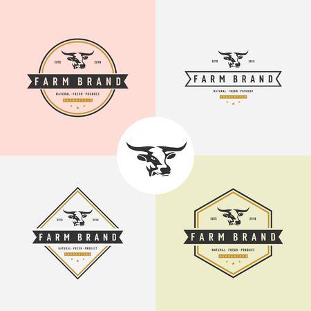 set of Cow head silhouette emblem logo label. Vector illustration.