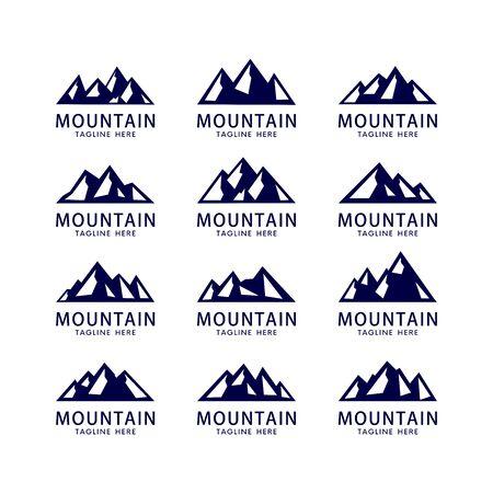 conjunto de plantilla de vector de logotipo de montaña y cielo