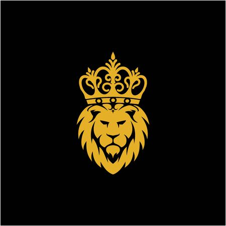 illustration lion king with crown logo vector