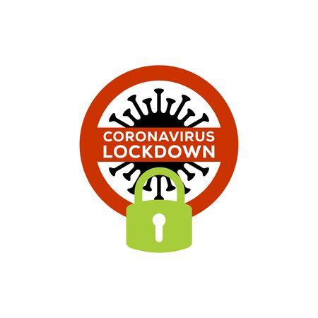 coronavirus lockdown symbol. Coronavirus pandemic puts countries on lockdown