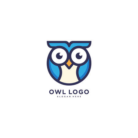 Owl Logo from lines sign bird icon for business monochrome